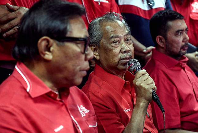 PPBM president Tan Sri Muhyiddin Yassin speaks to a press conference after a meeting with Bersatu and community leaders ahead of the Semenyih state by election — Bernama
