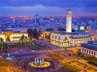 The square of Place Mohammed V is a hub of activity in Casablanca
