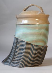 Extruded Green Stripped Pottery Jar, created by Artist Malcolm Gear