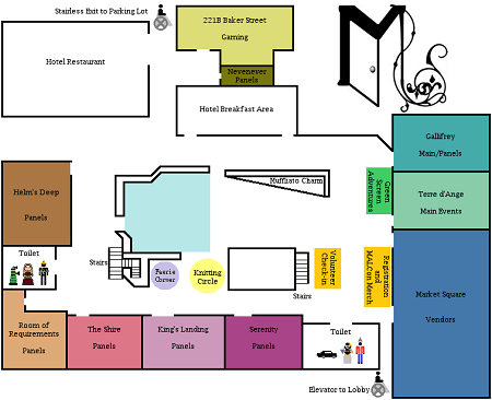 A map of the convention space with color-coded rooms.