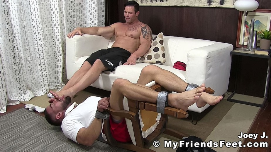 Ricky is tied to a chair and licks Joey J's bare feet - My Friends' Feet