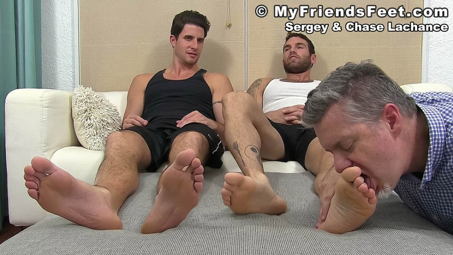 Sergey's toes get licked by a foot slave - My Friends' Feet