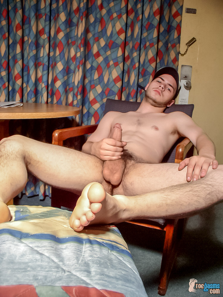 Naked Lil B plays with his cock with his bare male feet up for Toegasms - gay feet fetish porn