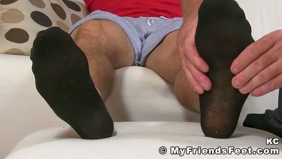 Dev massages KC's black socked size 11 feet - My Friends' Feet - male foot fetish porn
