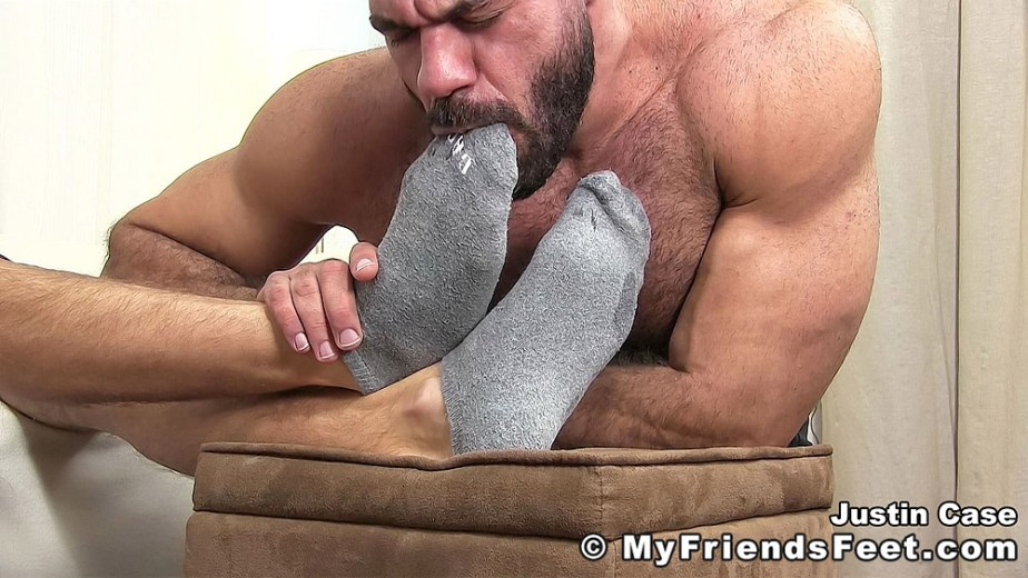 Shirtless Ricky sucks on Justin Case's grey socks - My Friends' Feet - gay foot porn