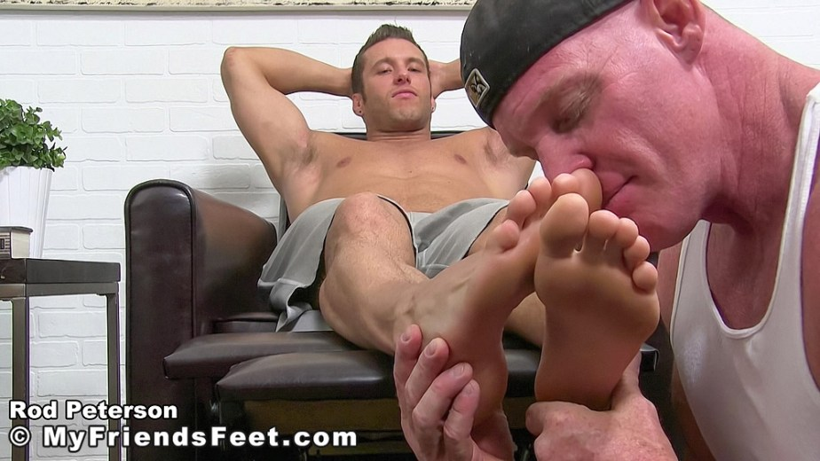 Dev sniffs shirtless Rod Peterson's size 11 bare toes - My Friends' Feet - gay foot porn
