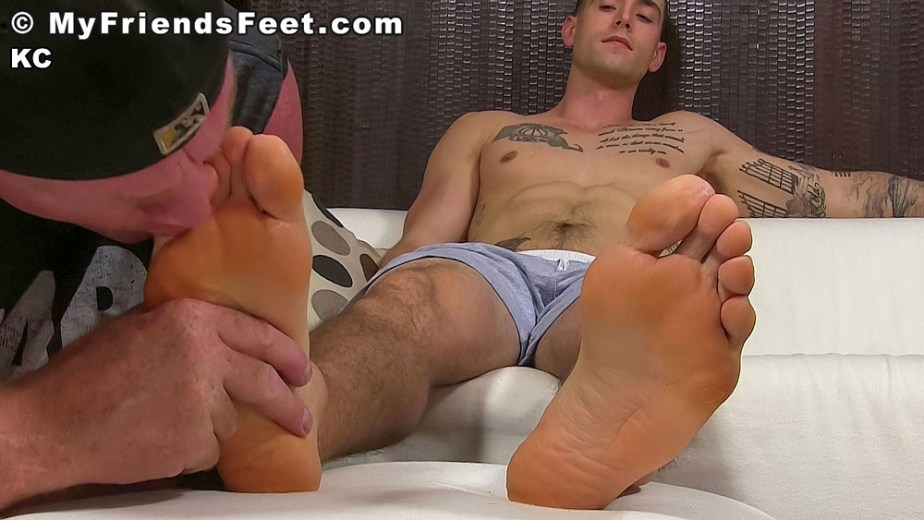 Dev sucks on shirtless KC's size 11 toes - My Friends' Feet - male foot fetish porn