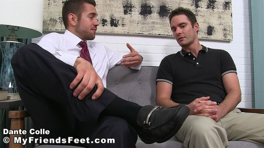 Dante Colle shows off his size 11 loafers to Cameron Kincade - My Friends' Feet - gay foot porn