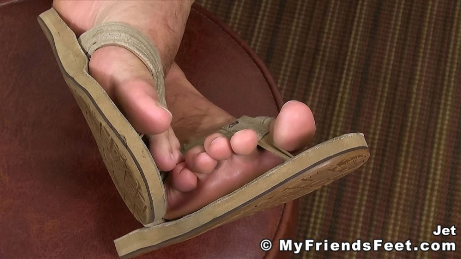 Jet shows off his size 12 feet and O'Neill flip flops - My Friends' Feet - gay foot porn