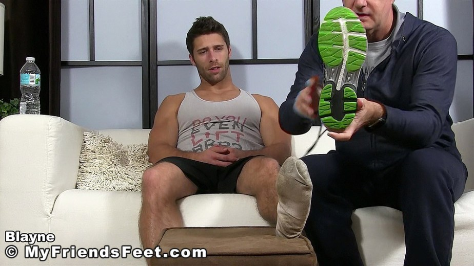 Blayne's filthy white socked foot after his client takes his sneaker off for My Friends Feet
