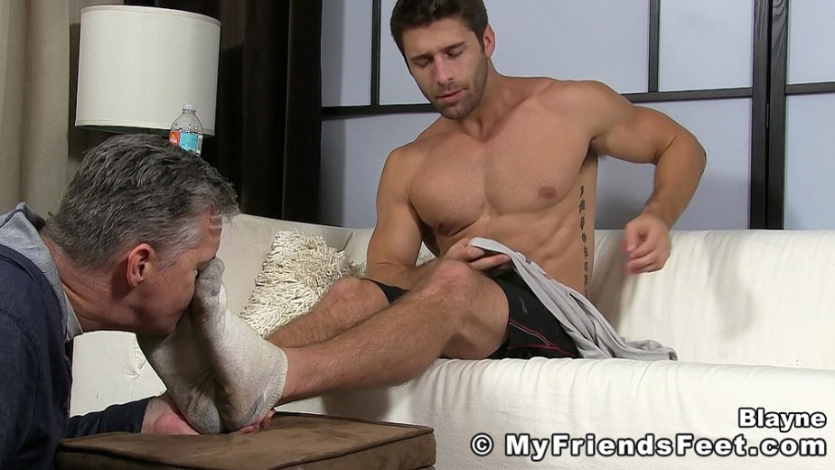 Blayne get his dirty white ankle socks sniffed for My Friends Feet
