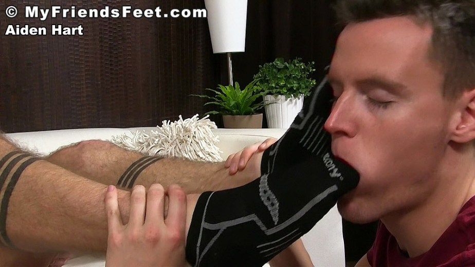 Nathan sucks on Aiden Hart's black socked toes for My Friends Feet