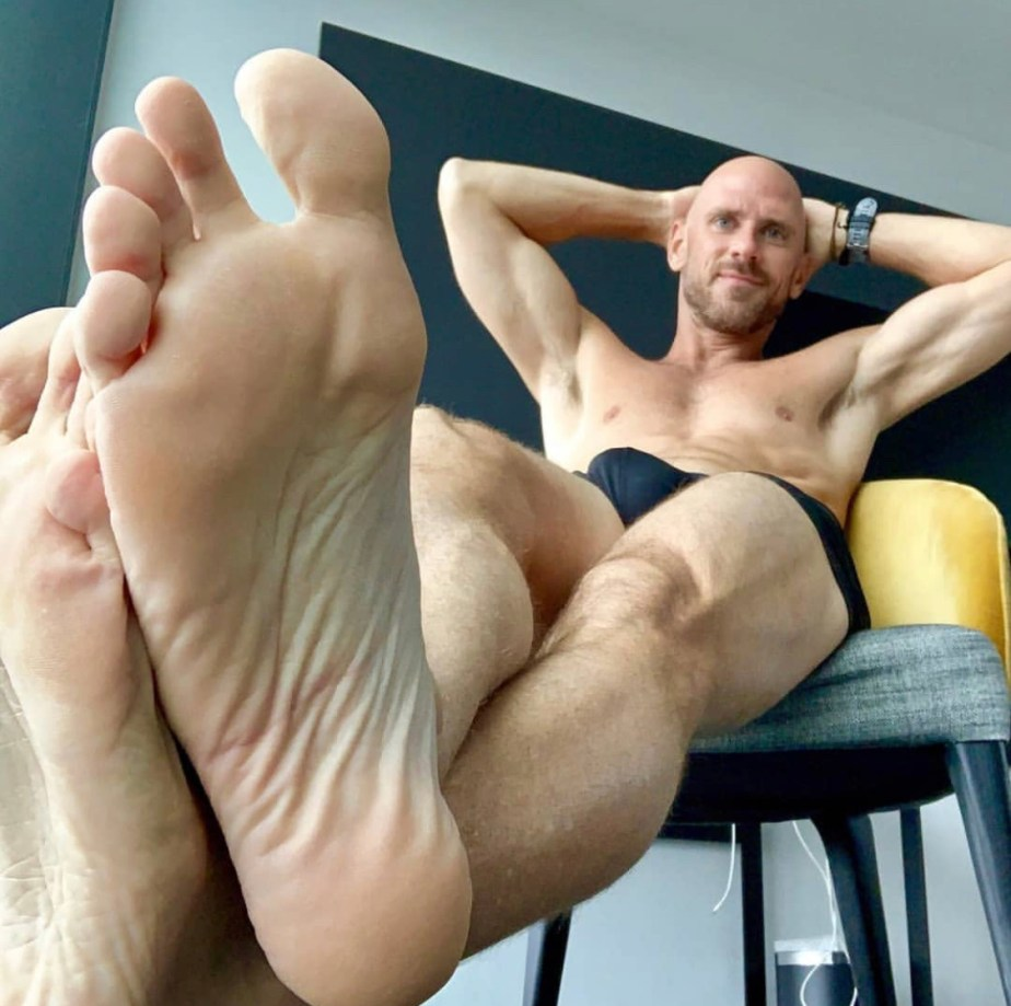 Johnny Sins showing off his big bare sole