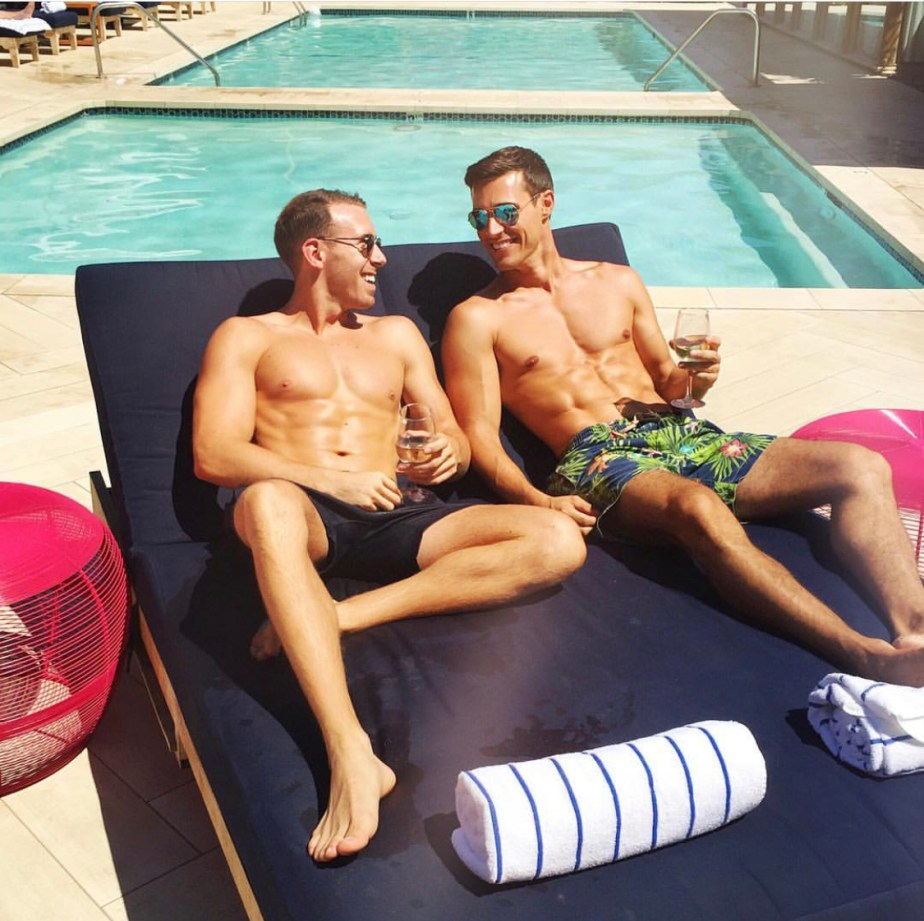 Drjonathanleary and ebradley_co barefoot by the pool
