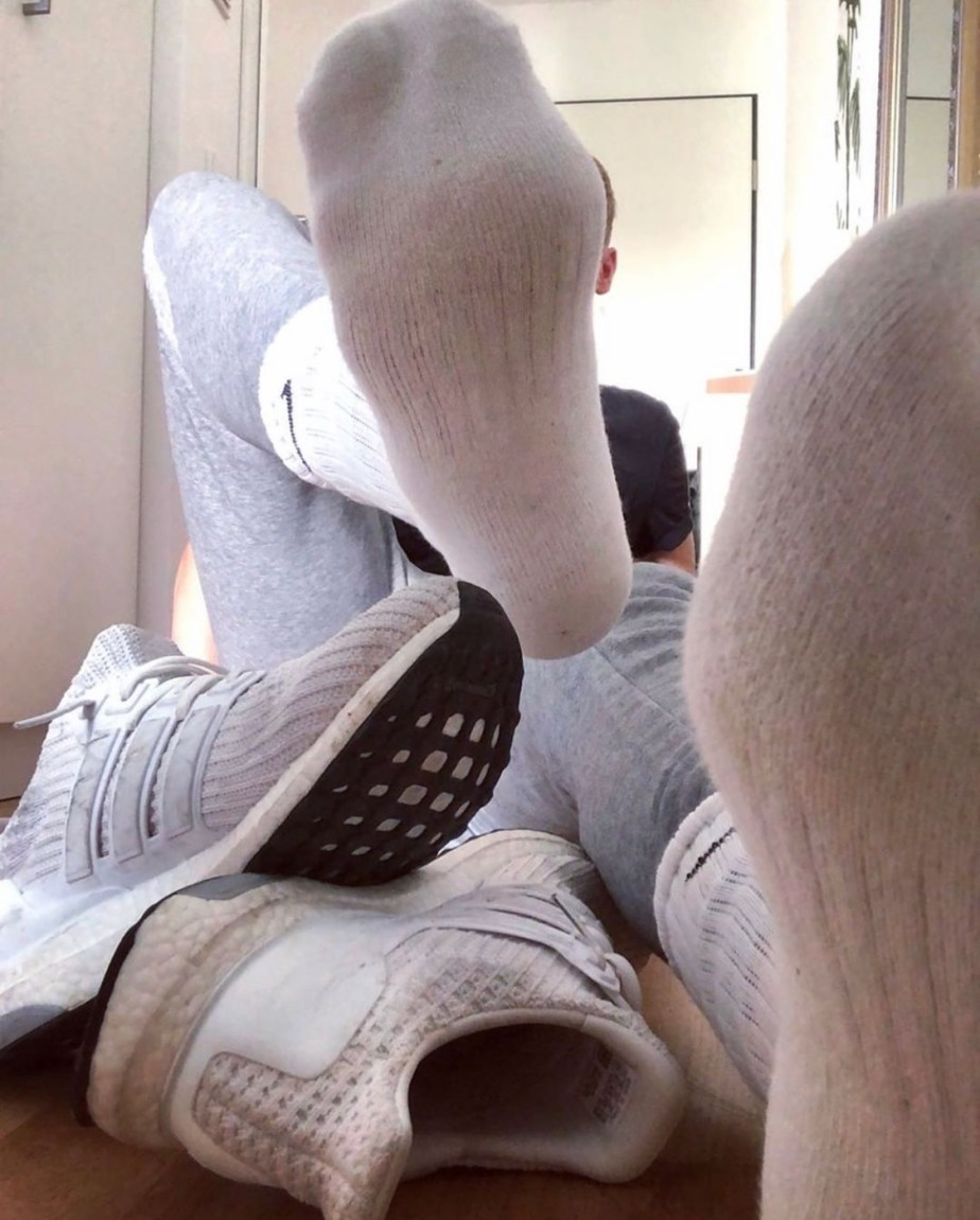 Hot.sox.bro's white Nike crew socks out of Adidas Ultraboost sneakers