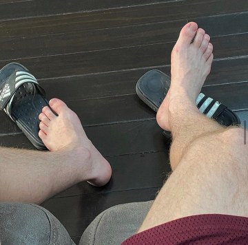 Mrstinkysocks barefoot out of dirty Adidas slides