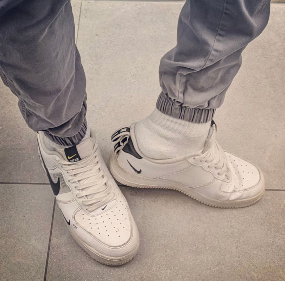 _sneaky789 slipping his white socked foot out of his Nike sneaker