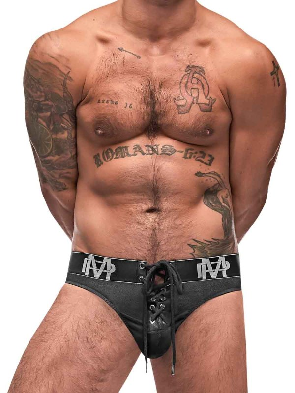 black ice lace up thong