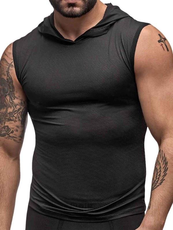 mens hoodie workout tank top