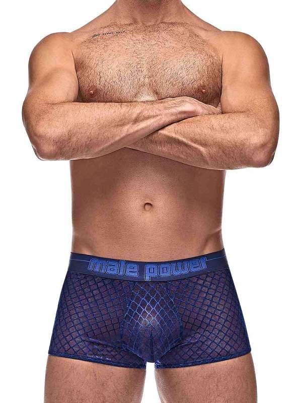 Mens sexy mesh navy boxer brief underwear