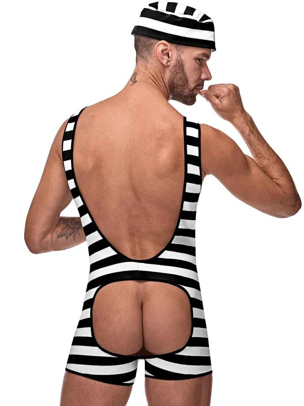Mens sexy inmate jail backless novelty costume