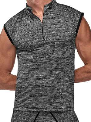 mens grey workout muscle tank top