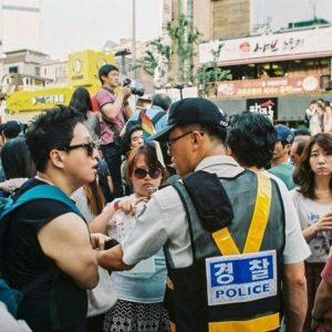 Seoul Pride MaleQ Protesters and Police