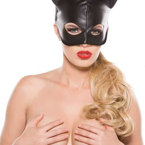 ALLURE BLACK FAUX LEATHER CAT MASK O/S