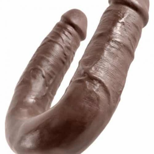 (WD) KING COCK DOUBLE TROUBLE MEDIUM BROWN