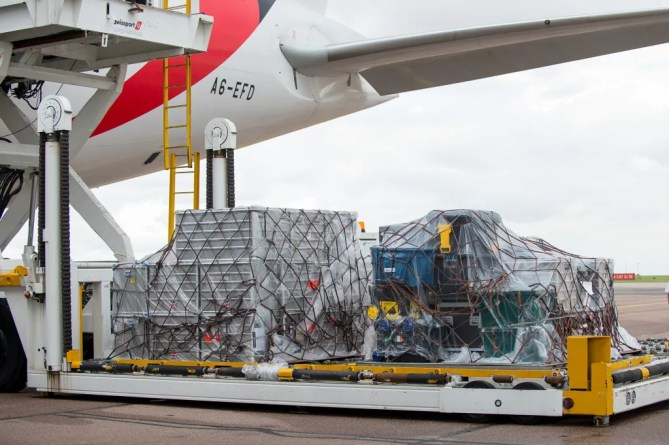 Horse luggage is loaded on to an Emirates SkyCargo Boeing 777-F at London Stansted Airport. On the flight were 34 horses from 10 of the nations competing in Equestrian at Rio 2016 - 29 July 2016 - Pic  Jon Stroud