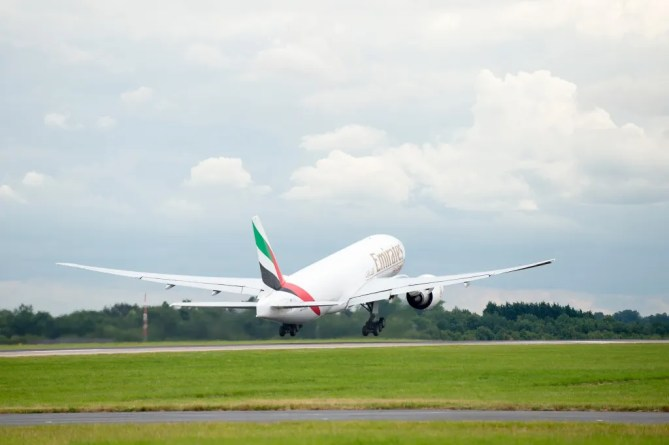 An Emirates SkyCargo Boeing 777-F taking horses to the Rio 2016 Olympic Games takes off from London Stansted Airport. On the flight were 34 horses from 10 of the nations competing in Equestrian at Rio 2016 - 29 July 2016 -Pic Jon Stroud