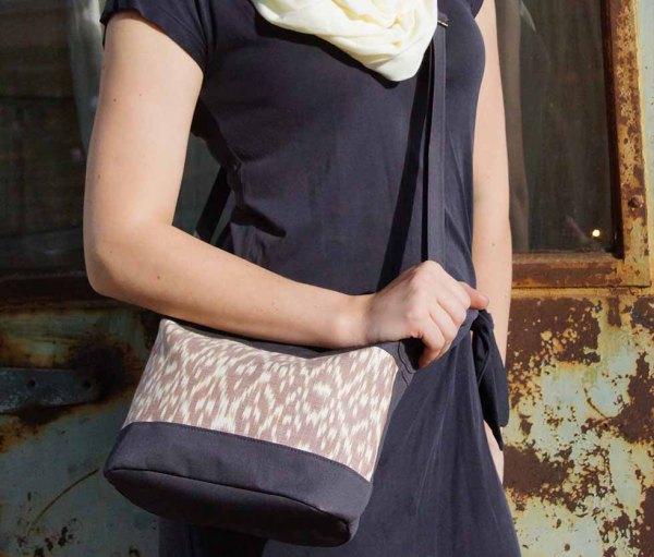 small brown ikat handbag