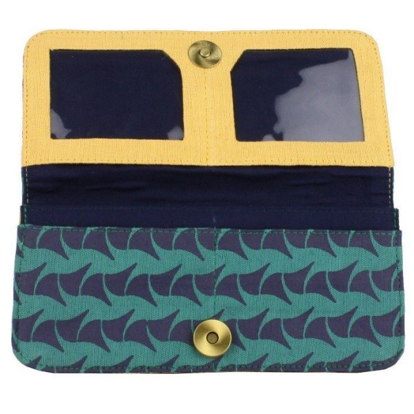fair trade cotton long wallet with zip pouch and card slots navy and teal ray yellow interior