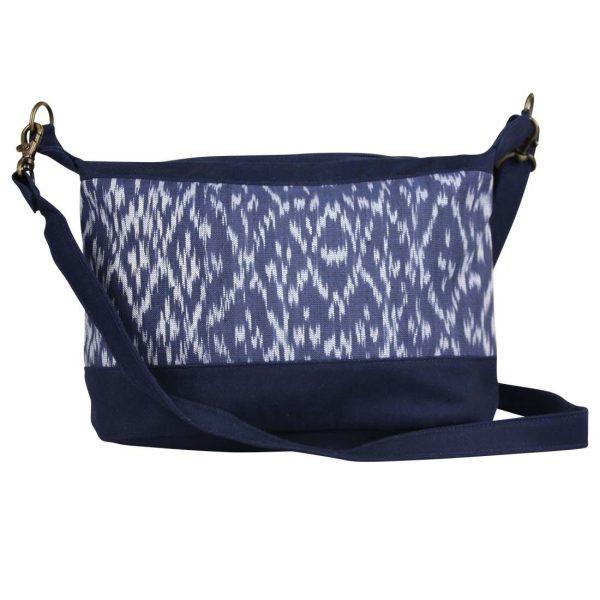 navy ikat handbag