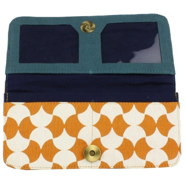 Interior of orange tile cotton wallet