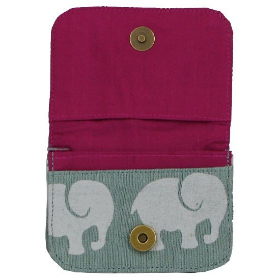 fuschia interior of grey elephant wallet
