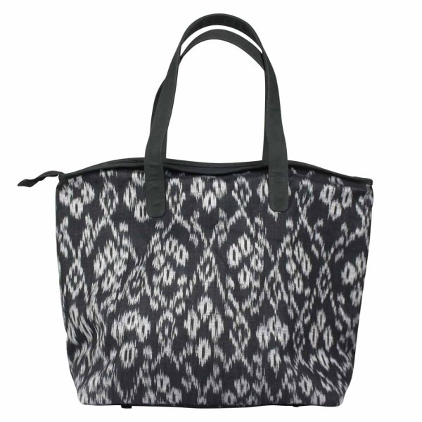large black ikat shoulder bag