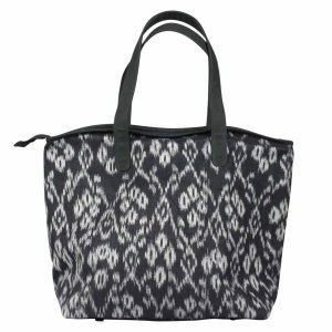 large black ikat shoulder bag