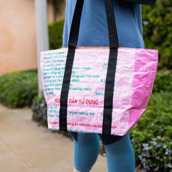 large pink recycled tote bag