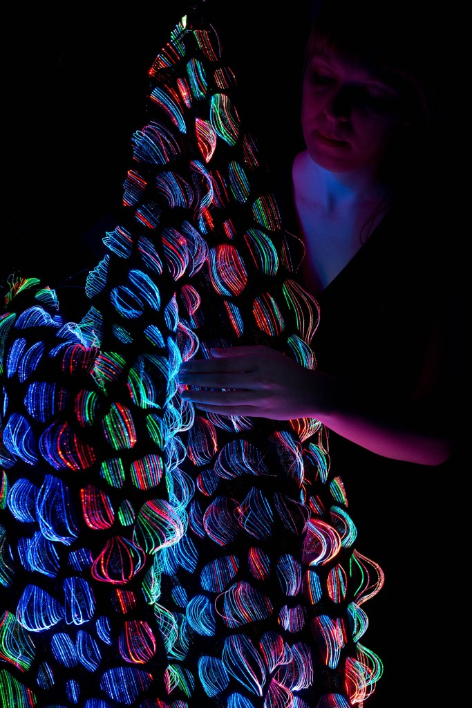 Droplet, Jacquard woven fabric that lights up through optical fibres using programmable RGB LED.