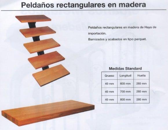 peldaños-rectangulares-madera Escalera de caracol con peldaños de MADERA