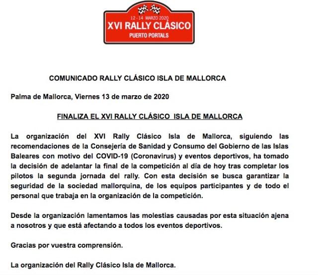 Presseerklärung zur 16. Rally Clásico Isla Mallorca