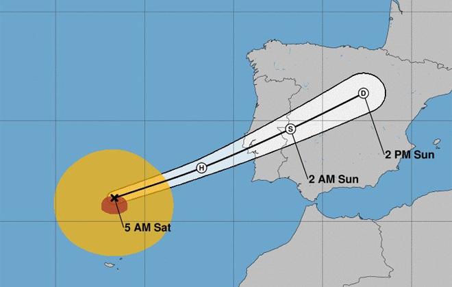 Der Hurrikan Leslie könnte die iberische Halbinsel in dieser Nacht mit heftigen Regenfällen und Windböen erreichen