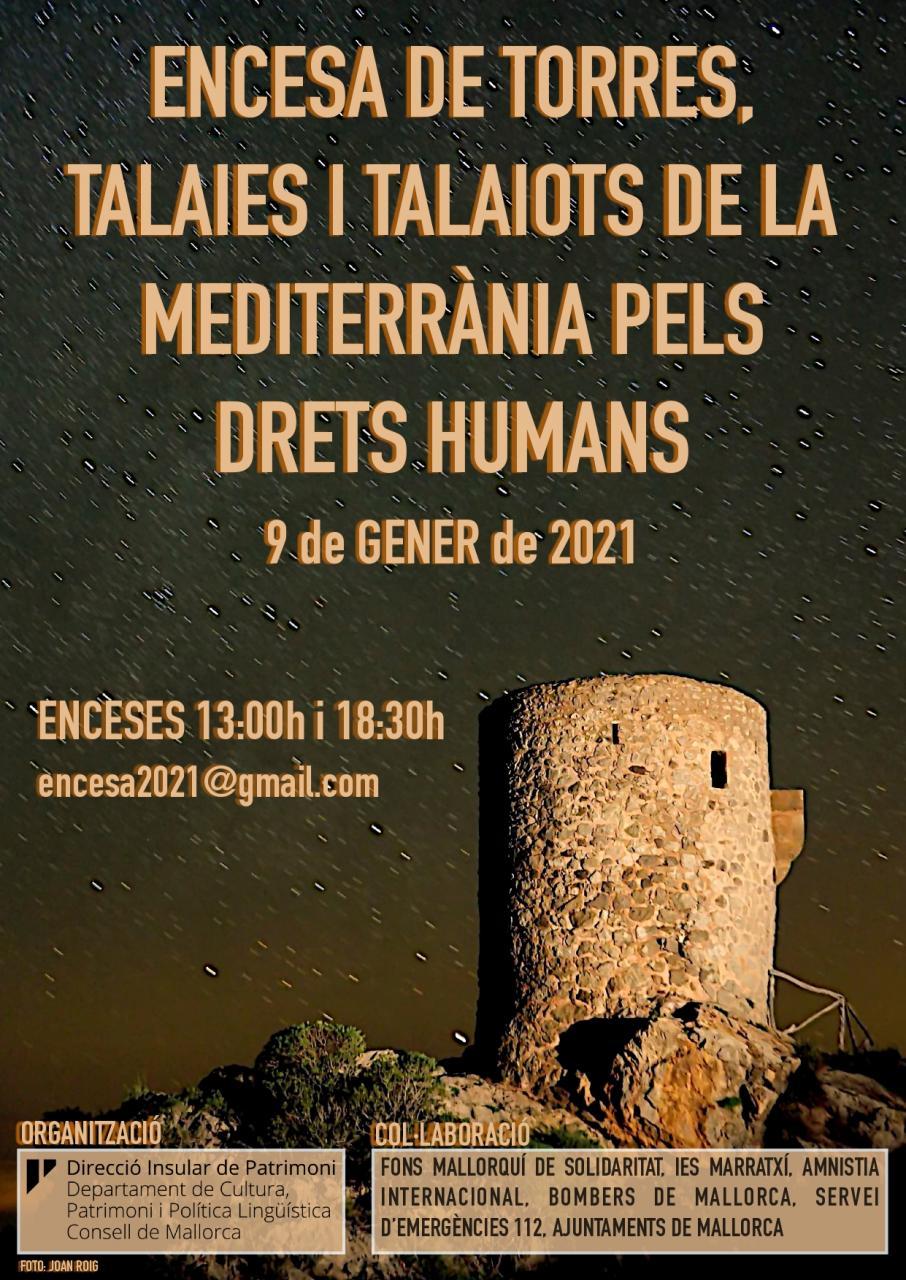 Verteidigungstürme auf Mallorca werden für die Menschenrechte beleuchtet