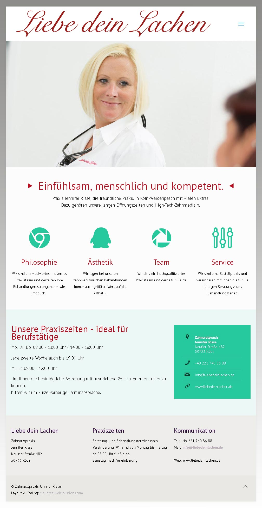 Kunde: ZA Jennifer Risse Entwicklung der CI, Grafik & Layout für Online & Printwerbung www.liebedeinlachen.de