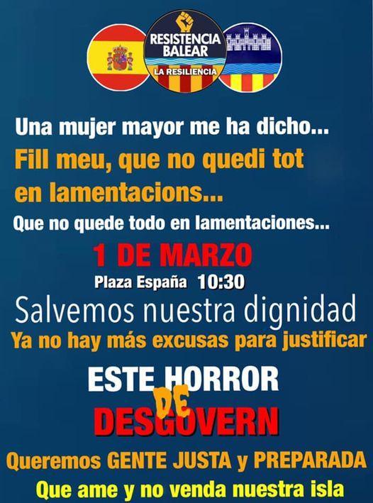 Aufruf von Resistencia Balear zum 01.03.2021