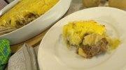 Gratin vom Kartoffelpüree mit Hackfleisch und Sauerkraut