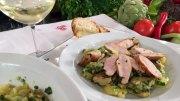 Kartoffelsalat mit Kaninchen und Artischocken