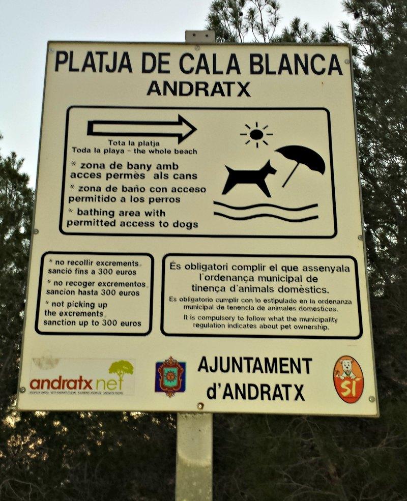 Schild Hundestrand Cala Blanca