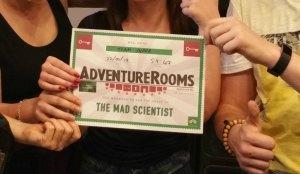 Am Ende gibt es ein Zertifikat von den Adventure Rooms Palma